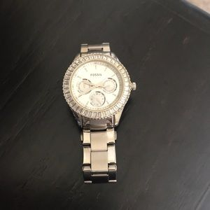 Women's silver fossil watch